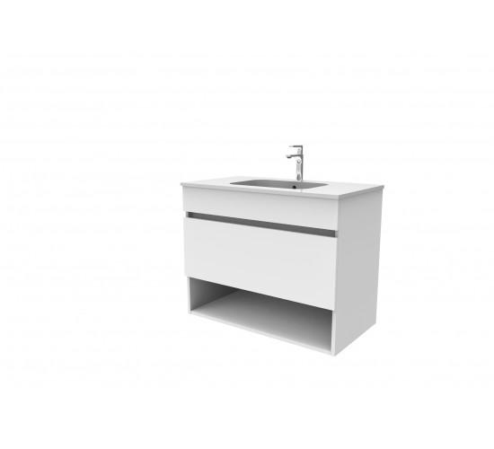 Kopalniška omarica z umivalnikom SMART -  Bela sijaj