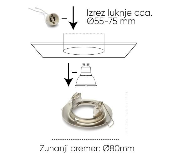 LED okvir okrogel Nerjaveče jeklo (12 kos)