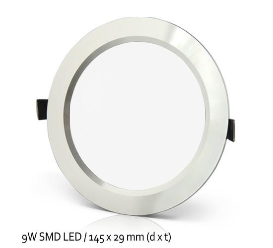 LED Vgradna SMD svetilka 9W, 8000lm, 3000K, toplo bela