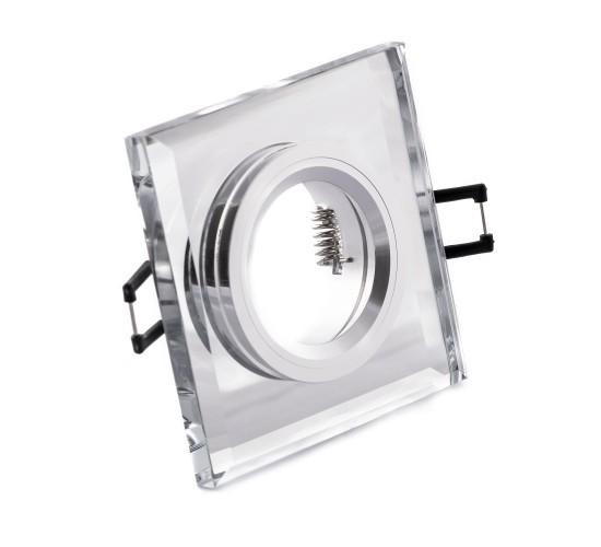 LED steklena vgradna svetilka SD1051 + žarnica GU10 3W toplo bela