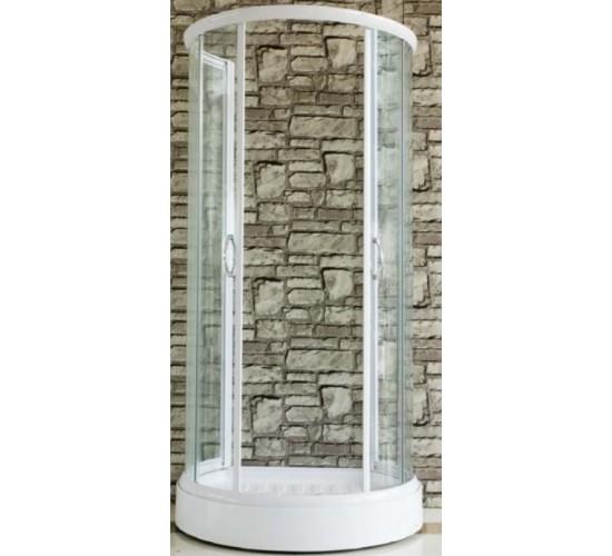 Polkrožna tuš kabina PRO-line s transparentnim steklom 100x86x185 - Bela