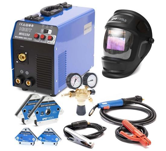 Varilni aparat MIG-250 IGBT + maska X800A + ventil CO2/Argon + Magneti