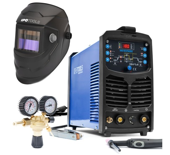 Komplet - Inverterski varilni aparat TIG INV185PACDC + maska + ventil