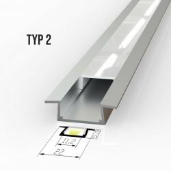 Vgradni Alu profil za LED trakove - TIP 2 (22061) Slim