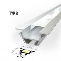 Kotni alu profil za LED trakove - TIP 8 (30101) Slim