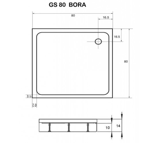 Kotna tuš kad Bora 80x80