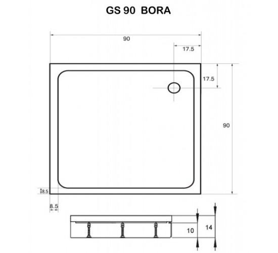 Kotna tuš kad Bora 90x90