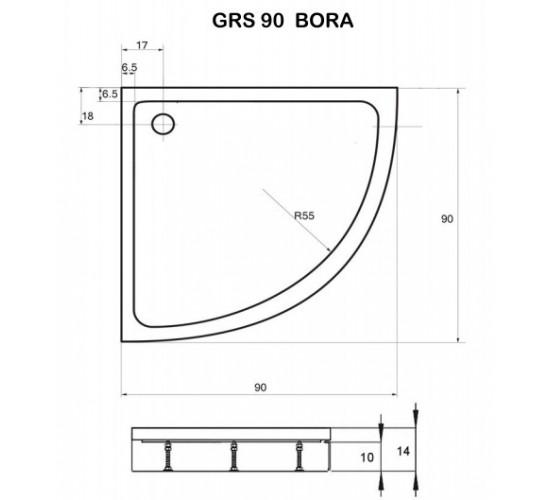 Polkrožna tuš kad Bora 90x90