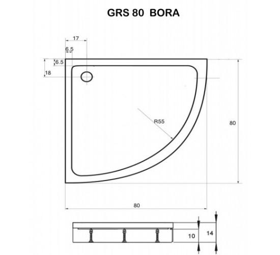 Polkrožna tuš kad Bora 80x80